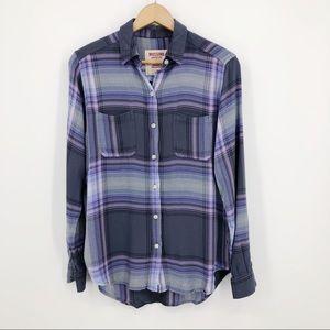 Mossimo Plaid Button Up Shirt Boyfriend Fit Purple